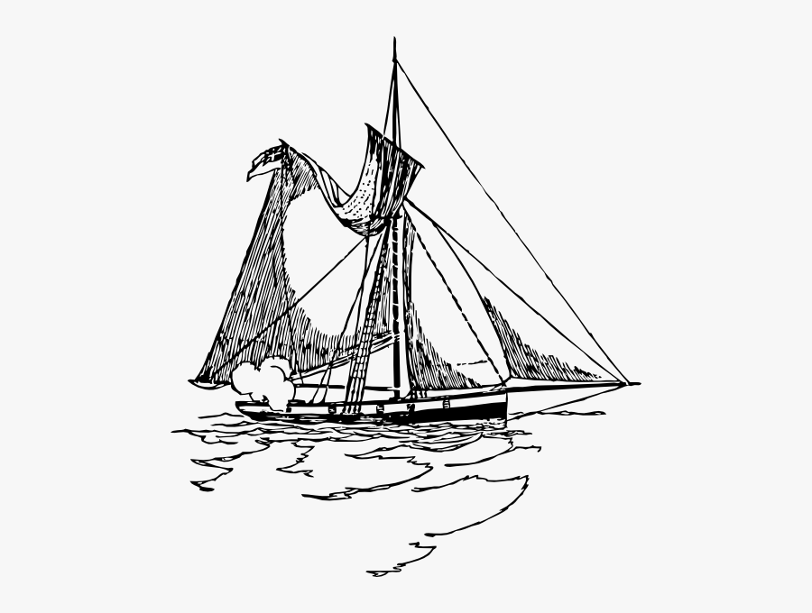 Ship With Torn Sails, Transparent Clipart