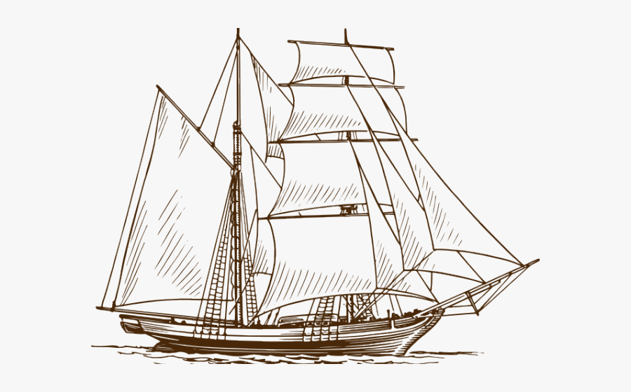Easy Ship Free On - Sailing Boat Pencil Drawing, Transparent Clipart
