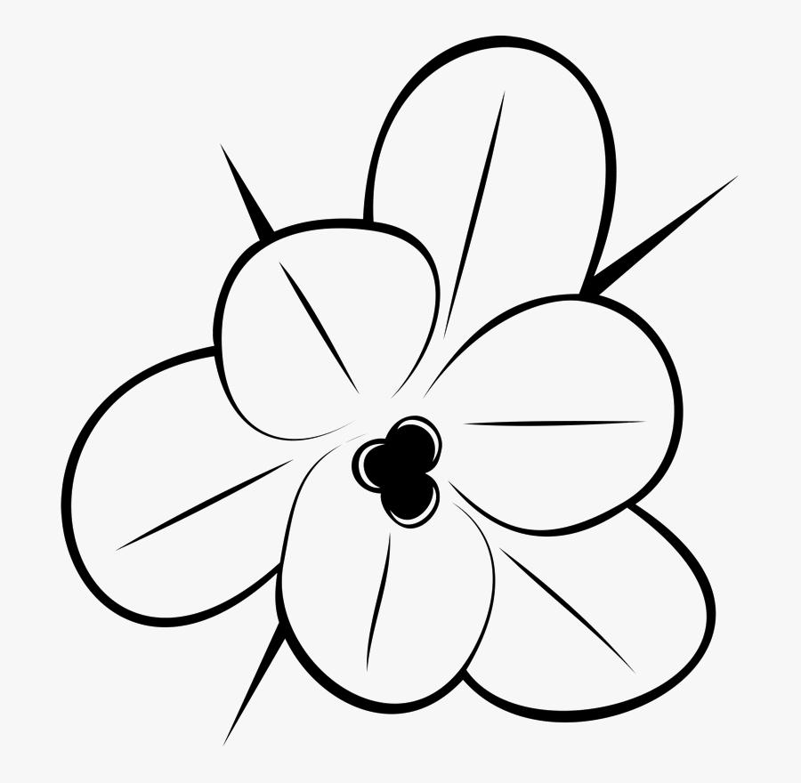 Flower Outline Drawing Rubber Stamp Flower Amp Leaf - Flower Outline Drawing, Transparent Clipart