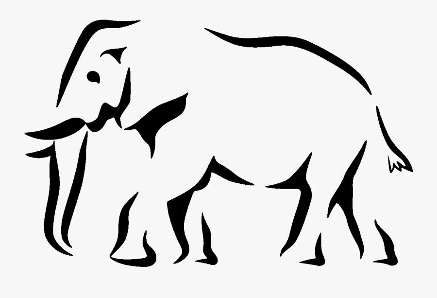 Elephant Silhouette Stencil, Transparent Clipart