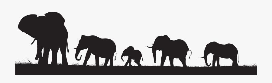 Elephants Silhouette Png Clip Art Image - Elephant Silhouette No Background, Transparent Clipart