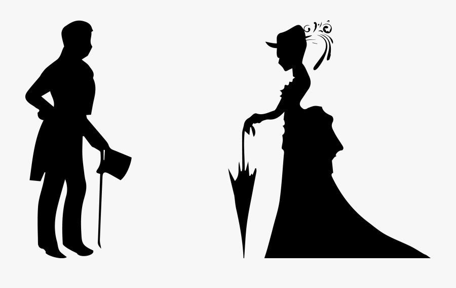 Married Couple Silhouette Clipart - Silhouette, Transparent Clipart