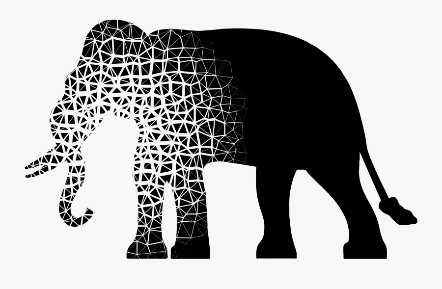 Art,monochrome Photography,monochrome - Black And White Elephant Silhouette, Transparent Clipart