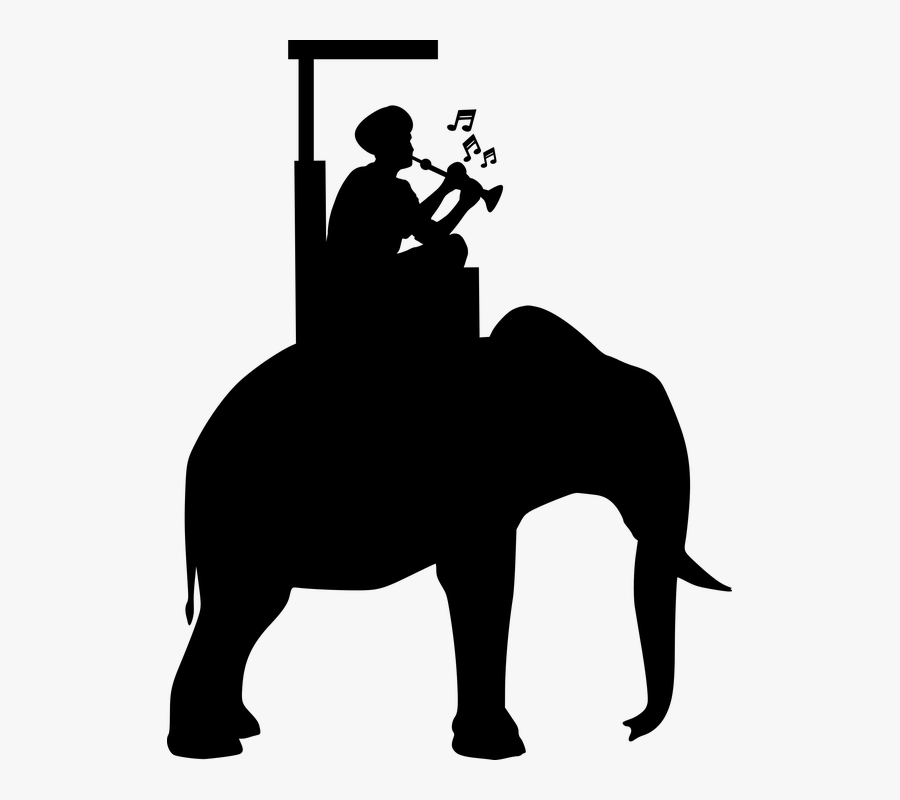 Elephant, Riding, Man, Silhouette, Asia, Cambodia - Riding Elephant Silhouette Png, Transparent Clipart