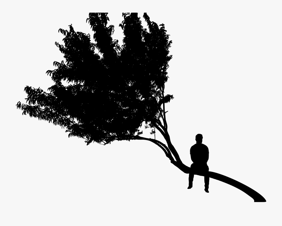 Man Sitting On Tree Silhouette Clipart Royalty Free - Man In Tree Silhouette, Transparent Clipart