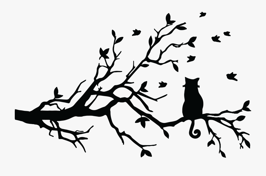 Cat In The Tree Clipart - Cat In Tree Silhouette, Transparent Clipart