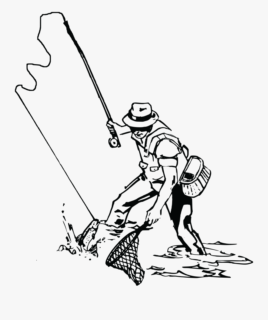 Free Clipart Of A Man Fishing - Fisherman Clipart Black And White, Transparent Clipart