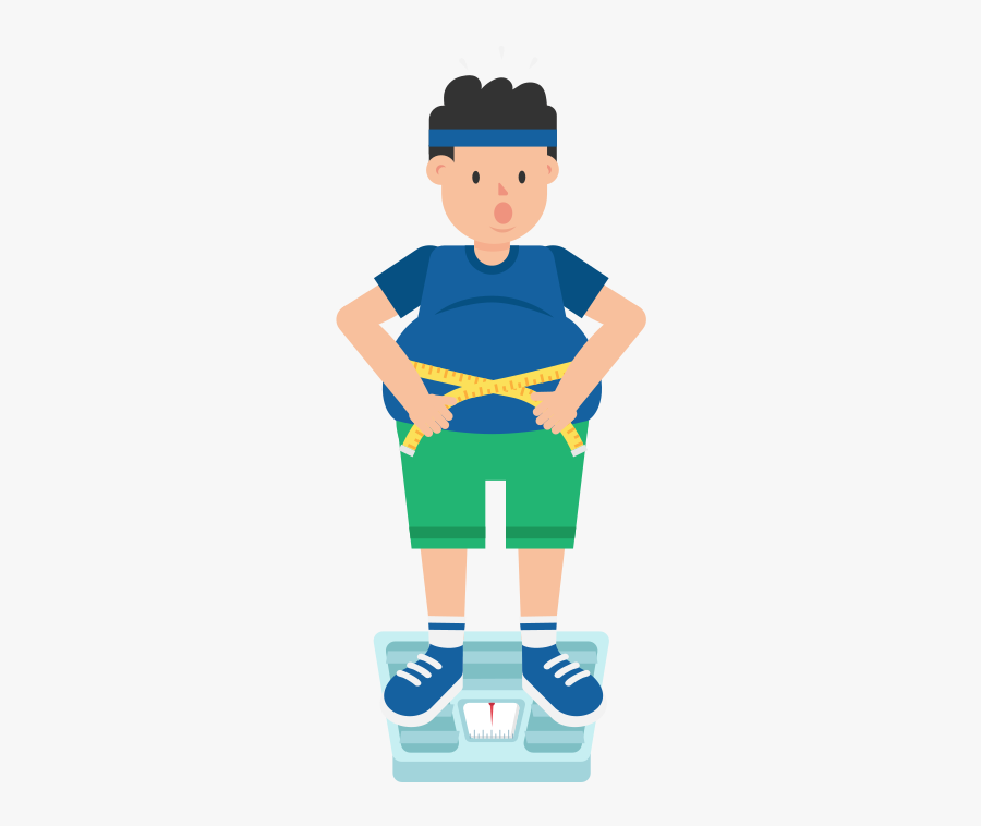Fat Man On Weight Scale Cartoon, Transparent Clipart