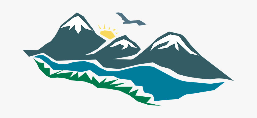 Logo, Mountain, Sunrise, Bird, Morning, Design - Mountain Png Logo Gunung, Transparent Clipart