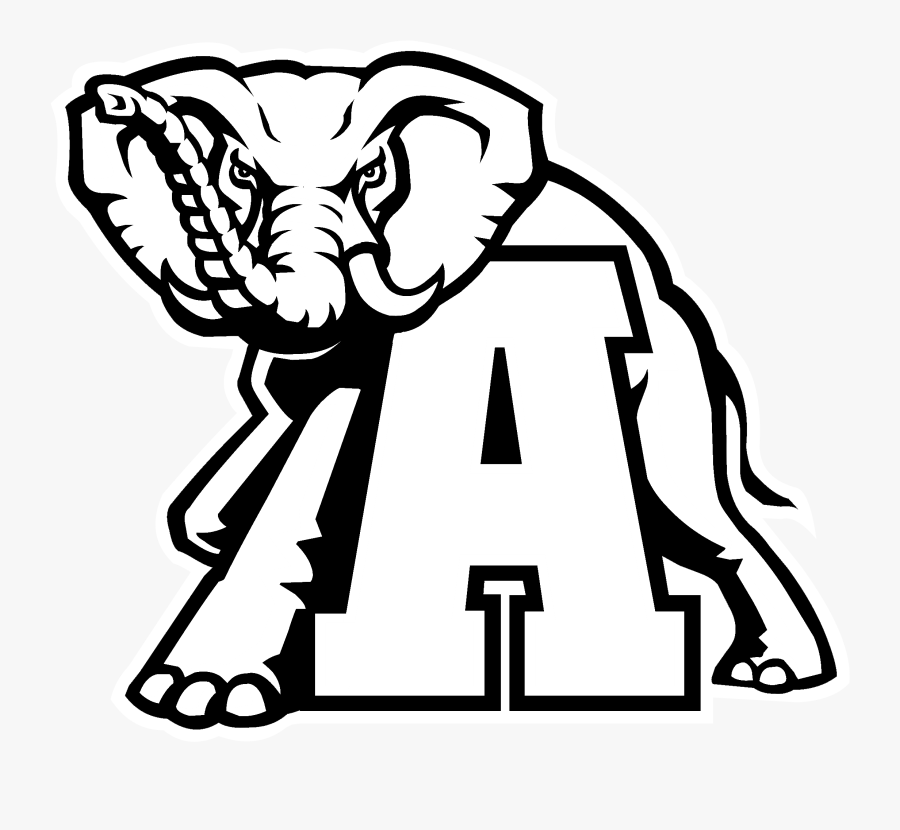 University Of Alabama Alabama Crimson Tide Football - Alabama Crimson Tide Logo Black And White, Transparent Clipart
