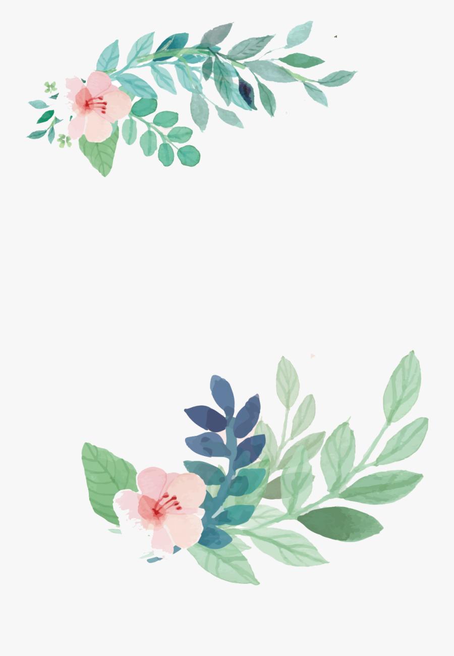 Watercolor Clipart Invitation - Floral Leaf Vector Png, Transparent Clipart