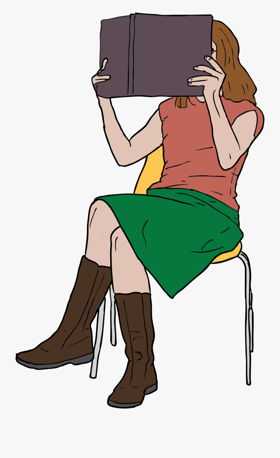 Woman Reading Book While - Girl Reading Clip Art, Transparent Clipart