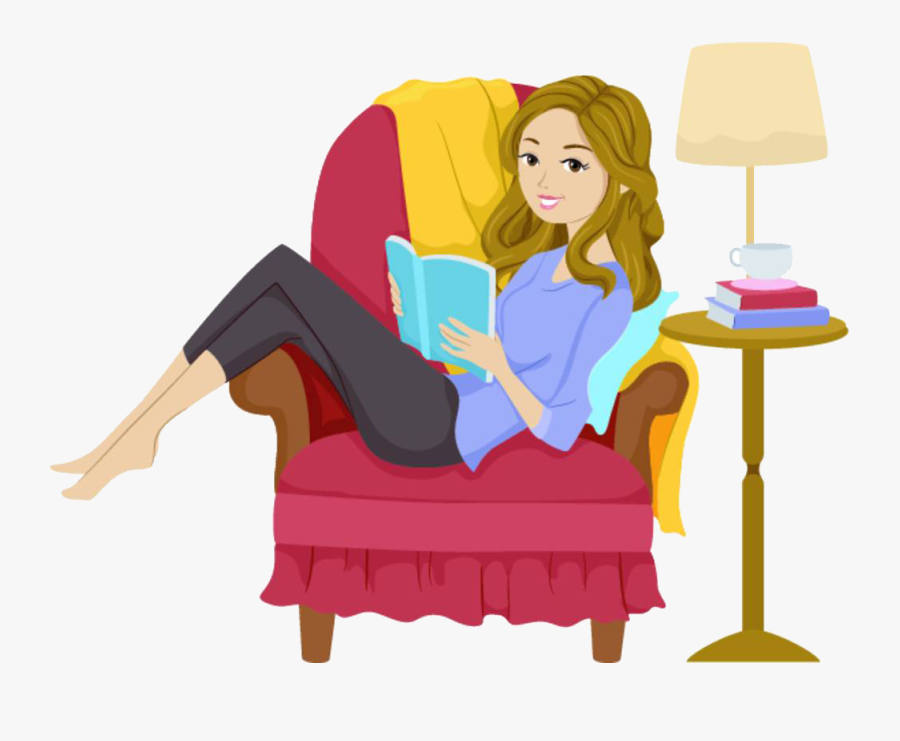 Transparent Person Clip Art - Girl Reading A Book Clip Art, Transparent Clipart