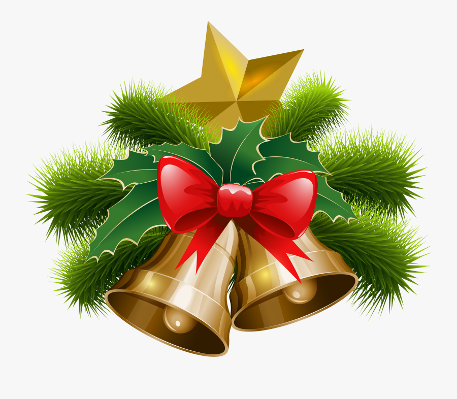 Christmas Bells And Bow Png Clip Art Image - Bell Christmas Png, Transparent Clipart