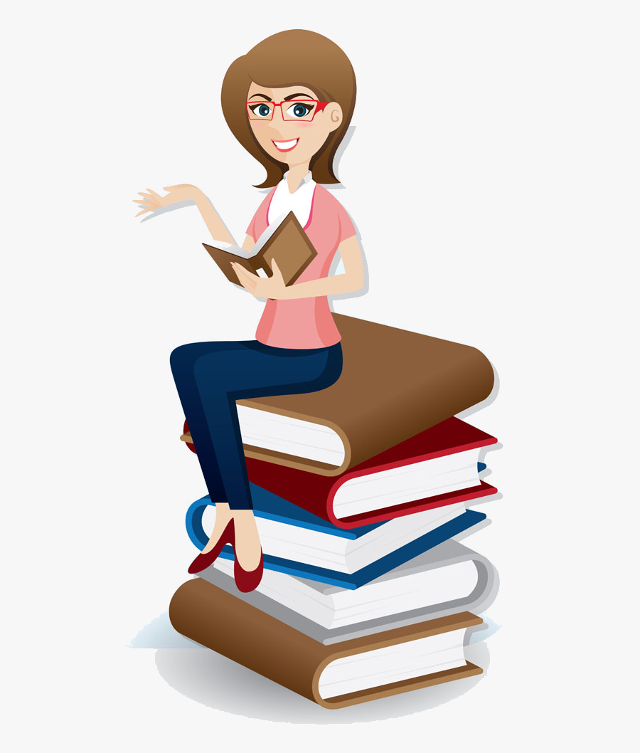 Professional Clipart Professional Girl - Cartoon Woman With Book, Transparent Clipart