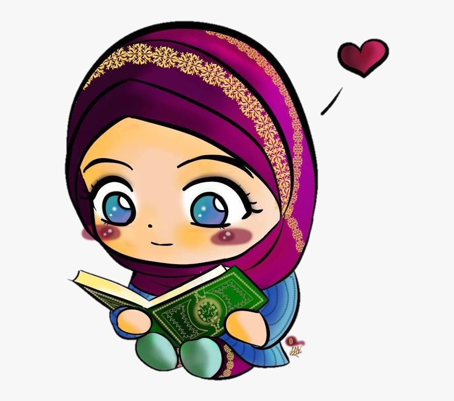 Transparent Hijab Clipart - Girl Reading Quran Clipart, Transparent Clipart