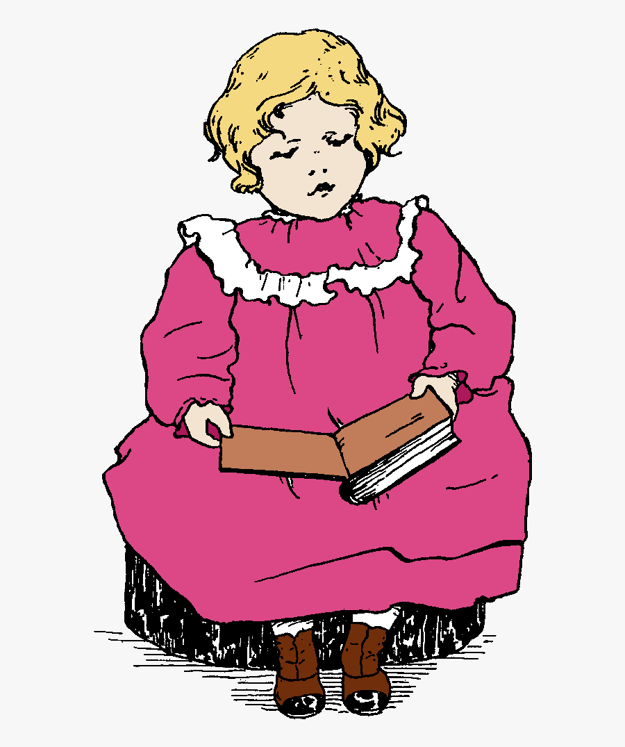 Girl Reading Book Image - Girl Reading A Book Printable, Transparent Clipart