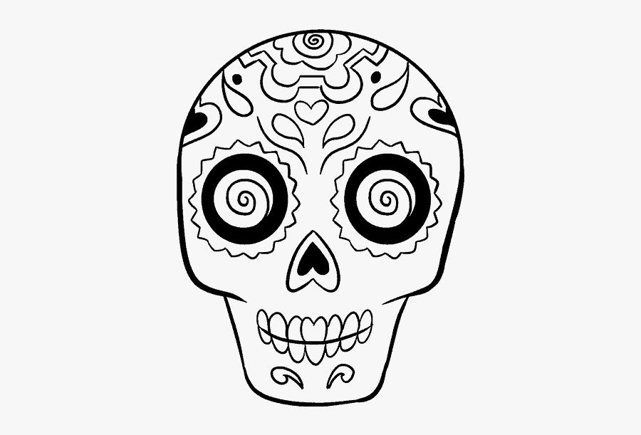 Clip Art Dia De Los Muertos Skull Drawing - Sugar Skull Easy Drawing, Transparent Clipart