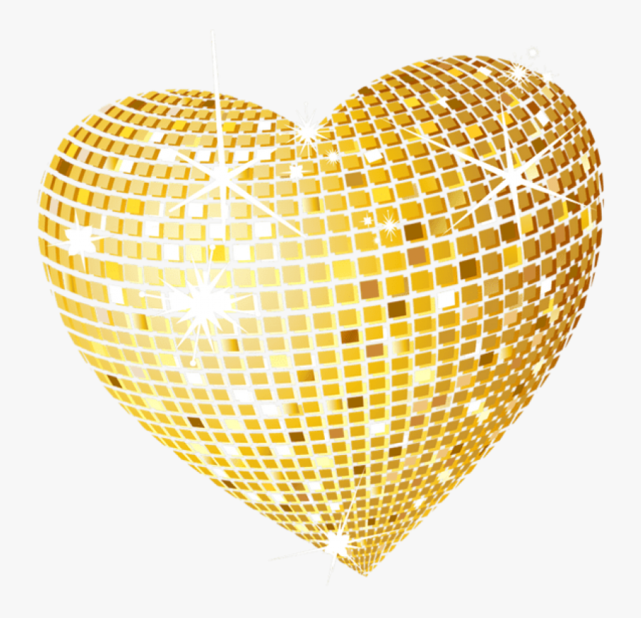 ##gold #golden #disco #heart #decoration #deco #accents - Heart Of Gold Clipart, Transparent Clipart