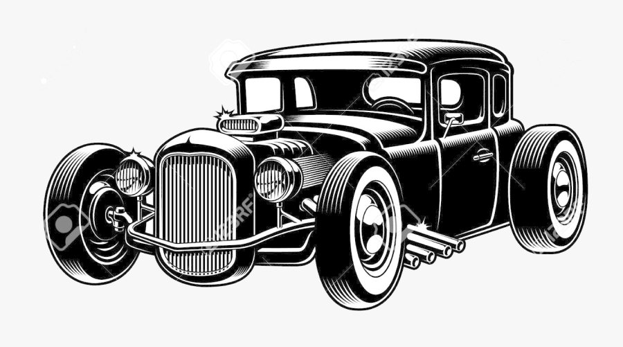 Hot Rod Clipart Black And White Images In Collection - Hot Rod Vector, Transparent Clipart