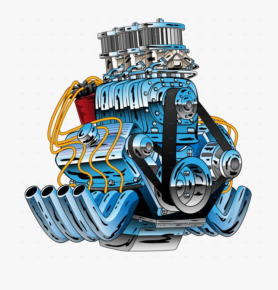 Car Engine Png - Hot Rod Engine Cartoon, Transparent Clipart