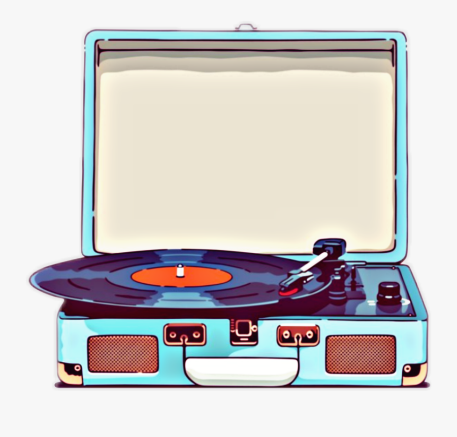 #music #player #vinyl #records #old School #love Music - Record Player Sticker, Transparent Clipart