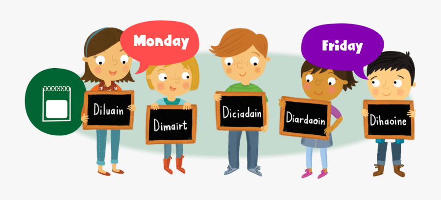 Clip Art Days Of The Week Clipart - Gaelic Days Of The Week, Transparent Clipart
