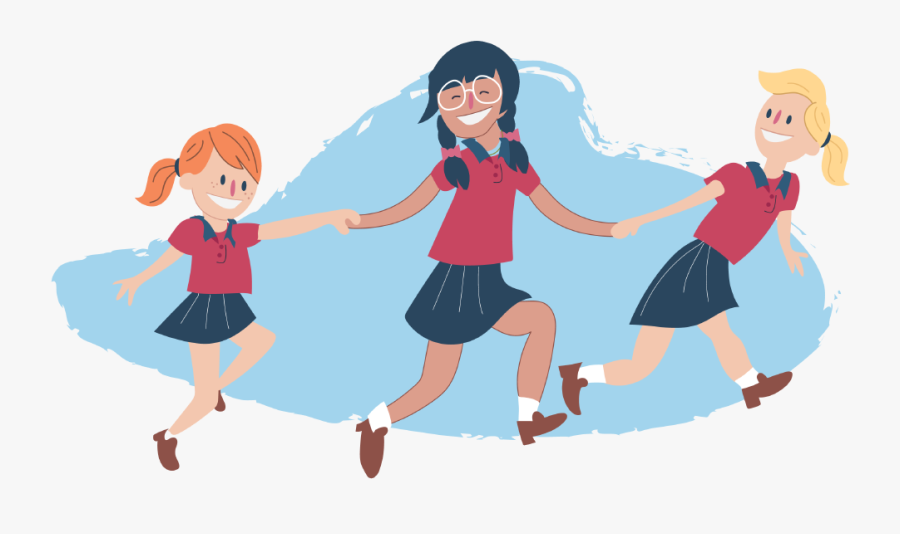 Girls Skipping And Holding Hands Clipart , Png Download - Skipping Holding Hands Cartoon, Transparent Clipart