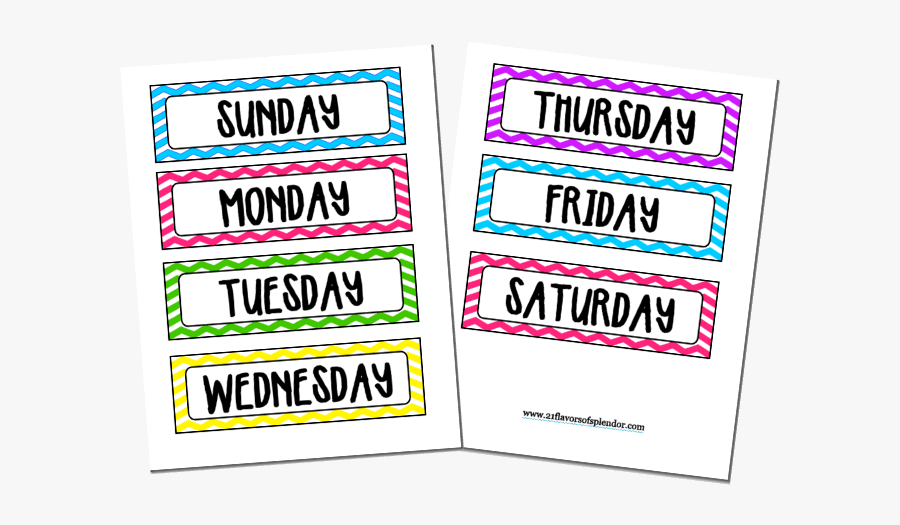 Stop The Daily What To Wear Battle With Your Kids By - Printable Days Of The Week Clipart, Transparent Clipart