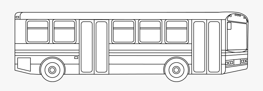 Public Transportation Bus Outline - Coloring Pages City Bus, Transparent Clipart