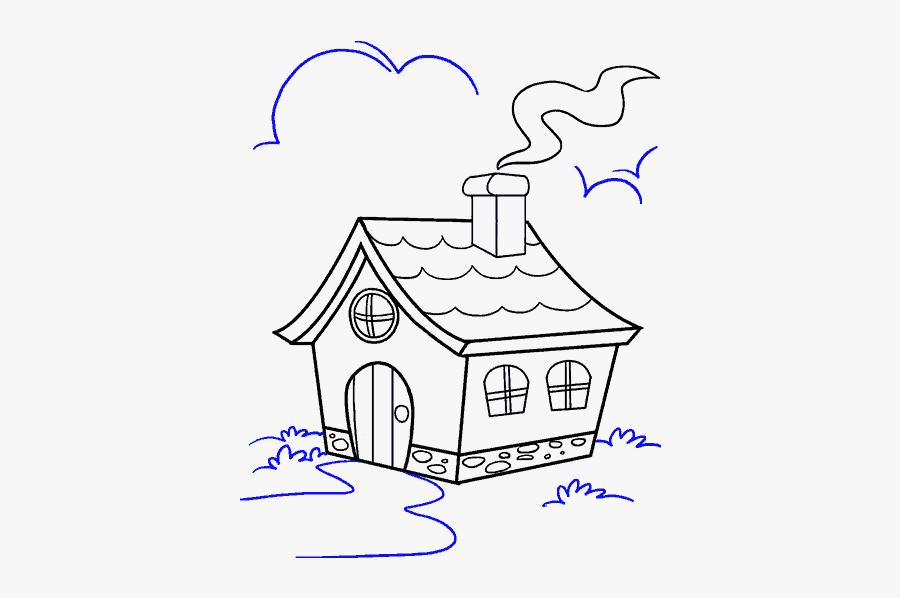 How To Draw A - Draw A Cartoon House, Transparent Clipart