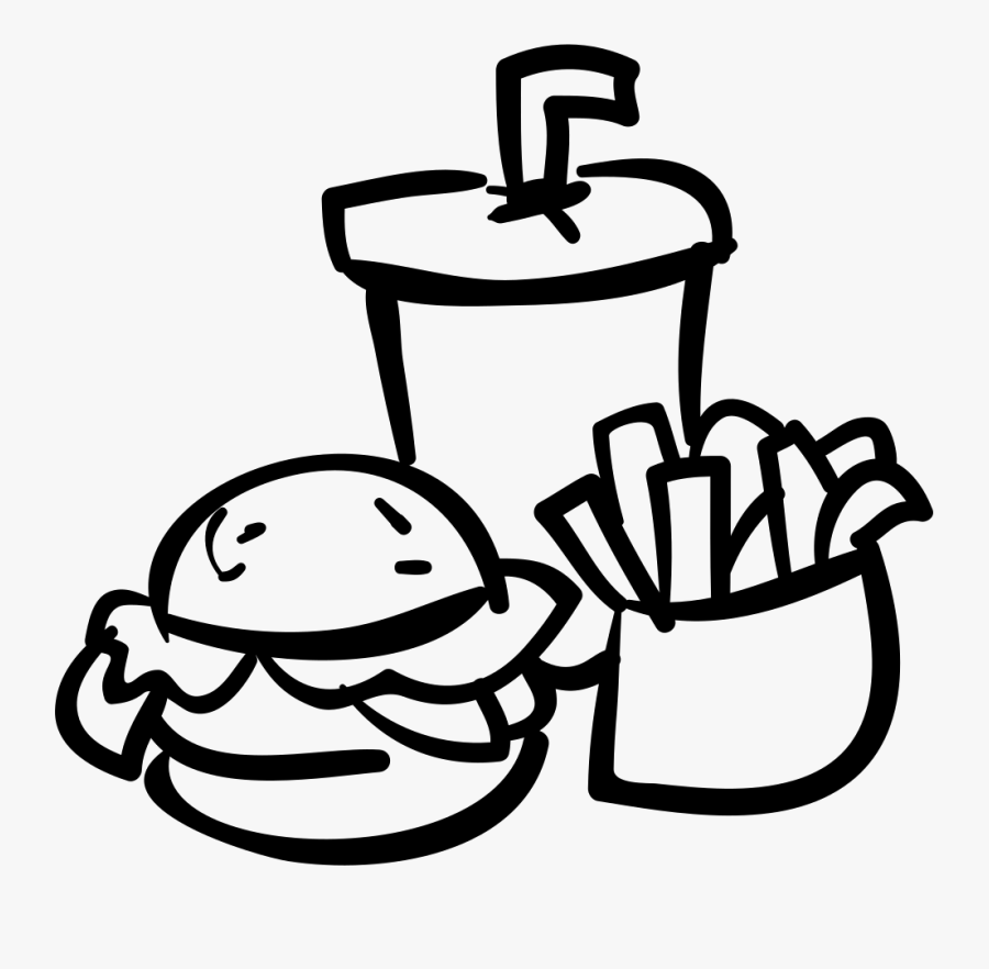 Transparent Fast Food Clipart Black And White - Drink Food Icon Png, Transparent Clipart