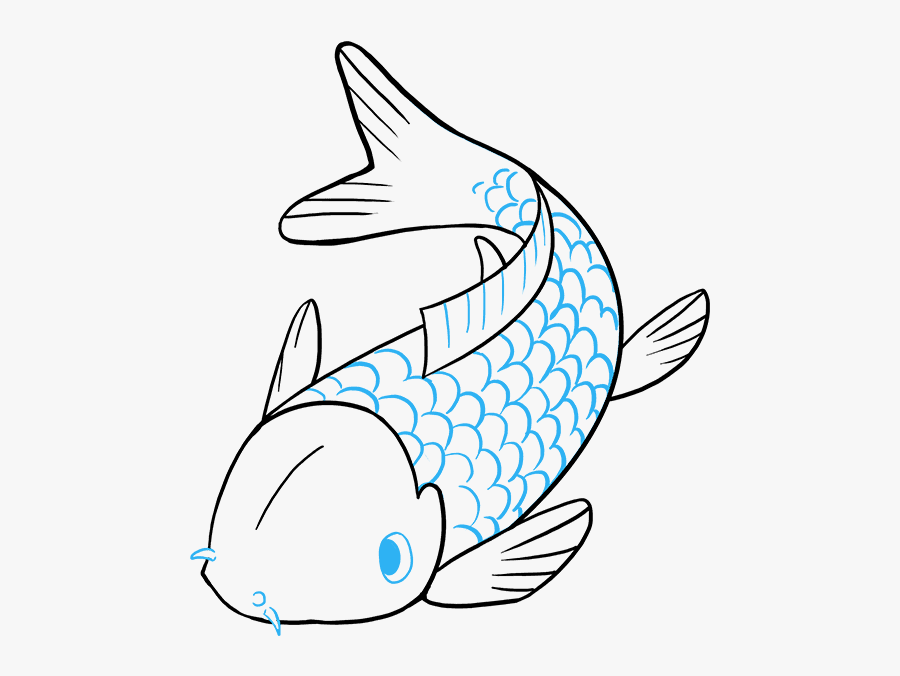 Clip Art How To Draw A - Koi Fish Easy To Draw, Transparent Clipart