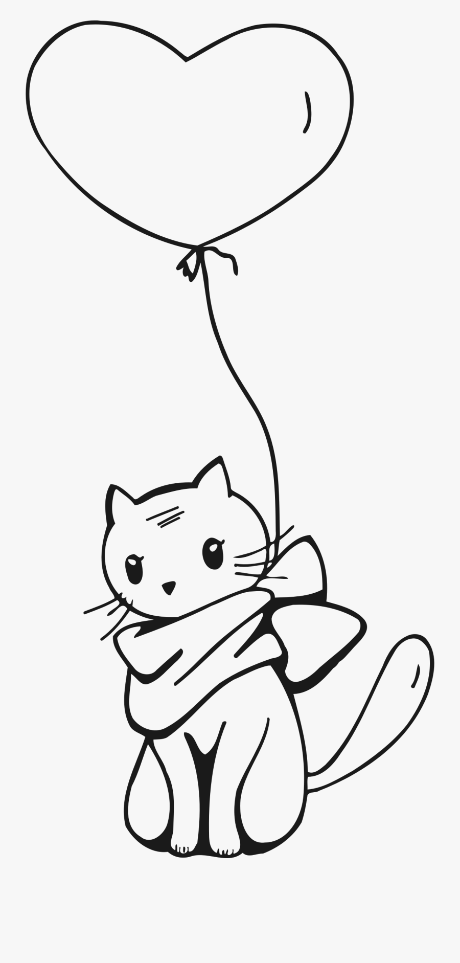 Cat Clipart Tail - Cat With Balloon Drawing, Transparent Clipart