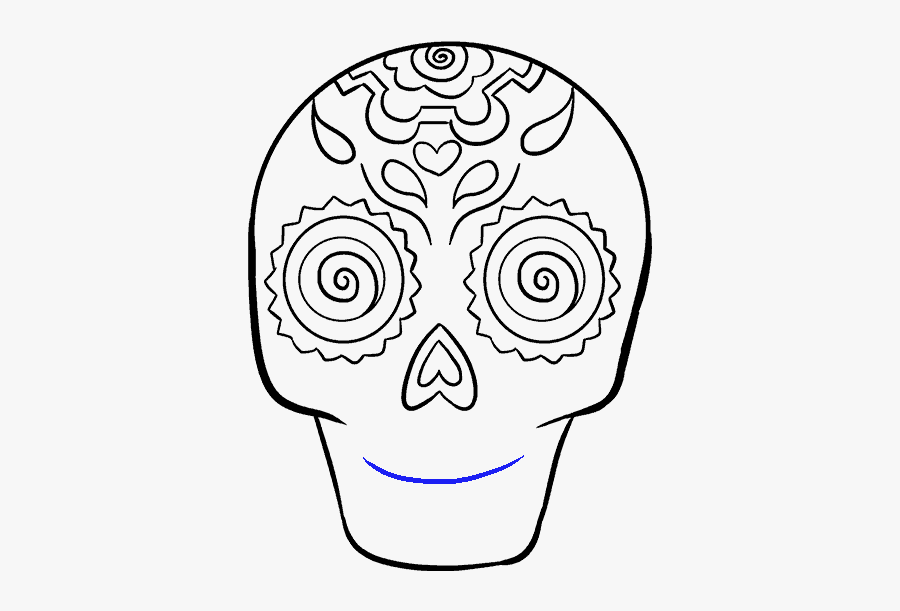 How To Draw Sugar Skull - Draw Easy Skull, Transparent Clipart