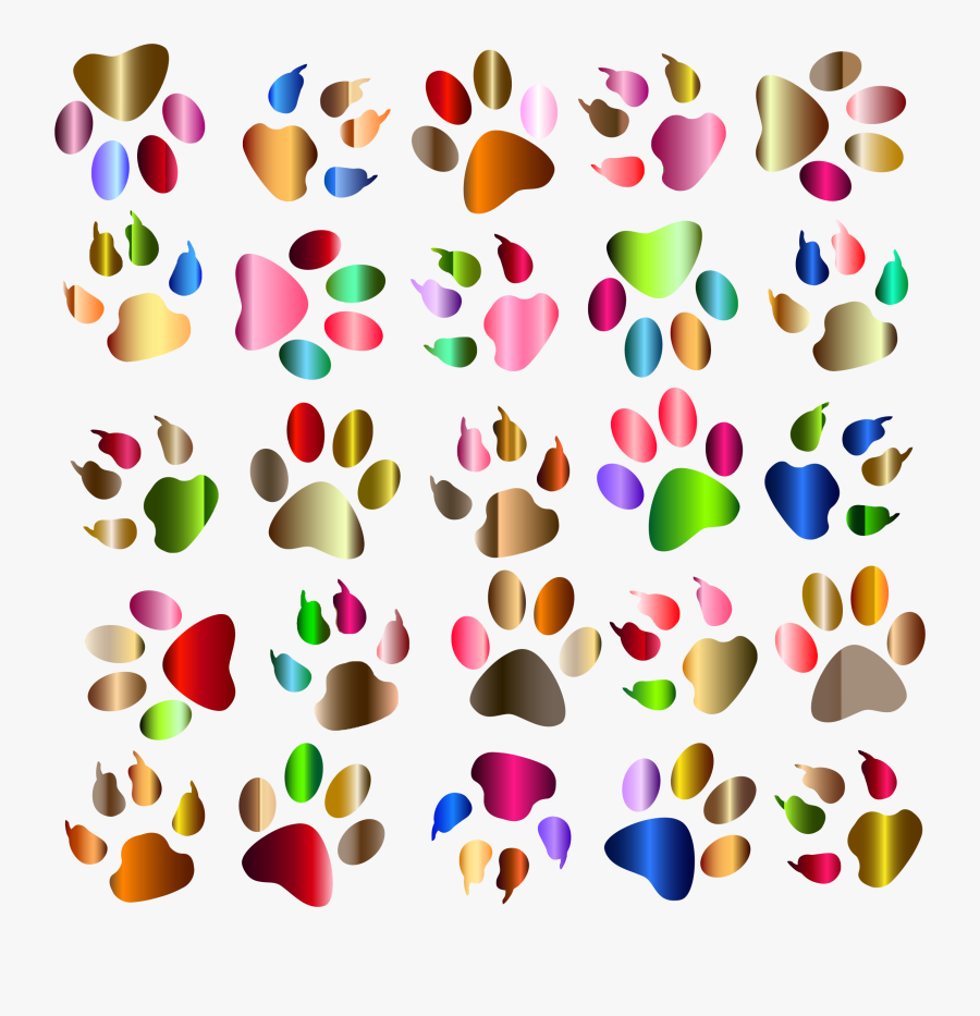 Colouful Clipart Paw Print - Free Dog Paw Background Clip Art, Transparent Clipart