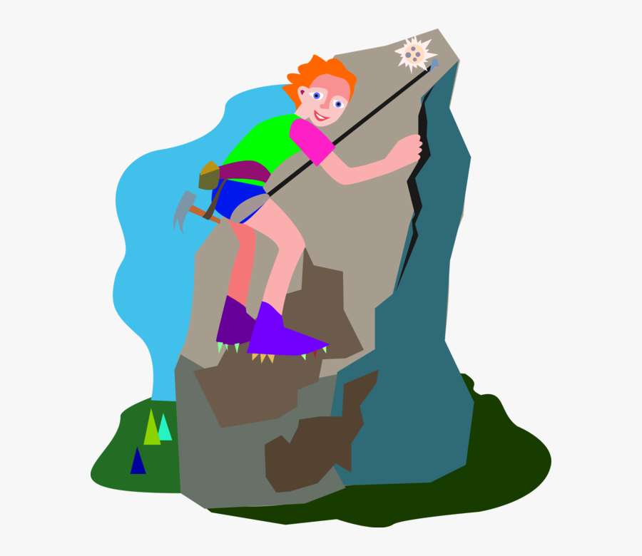 Vector Illustration Of Mountain Climber Uses Rope To - Climbing Clipart Png, Transparent Clipart