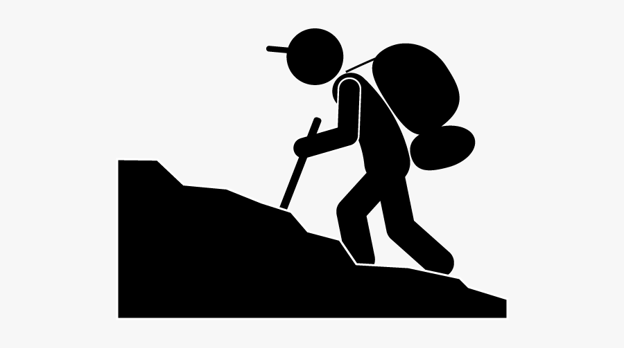 Climbing Mountaineering Computer Icons Pictogram Clip - Mountain Climbing Black And White Clipart, Transparent Clipart