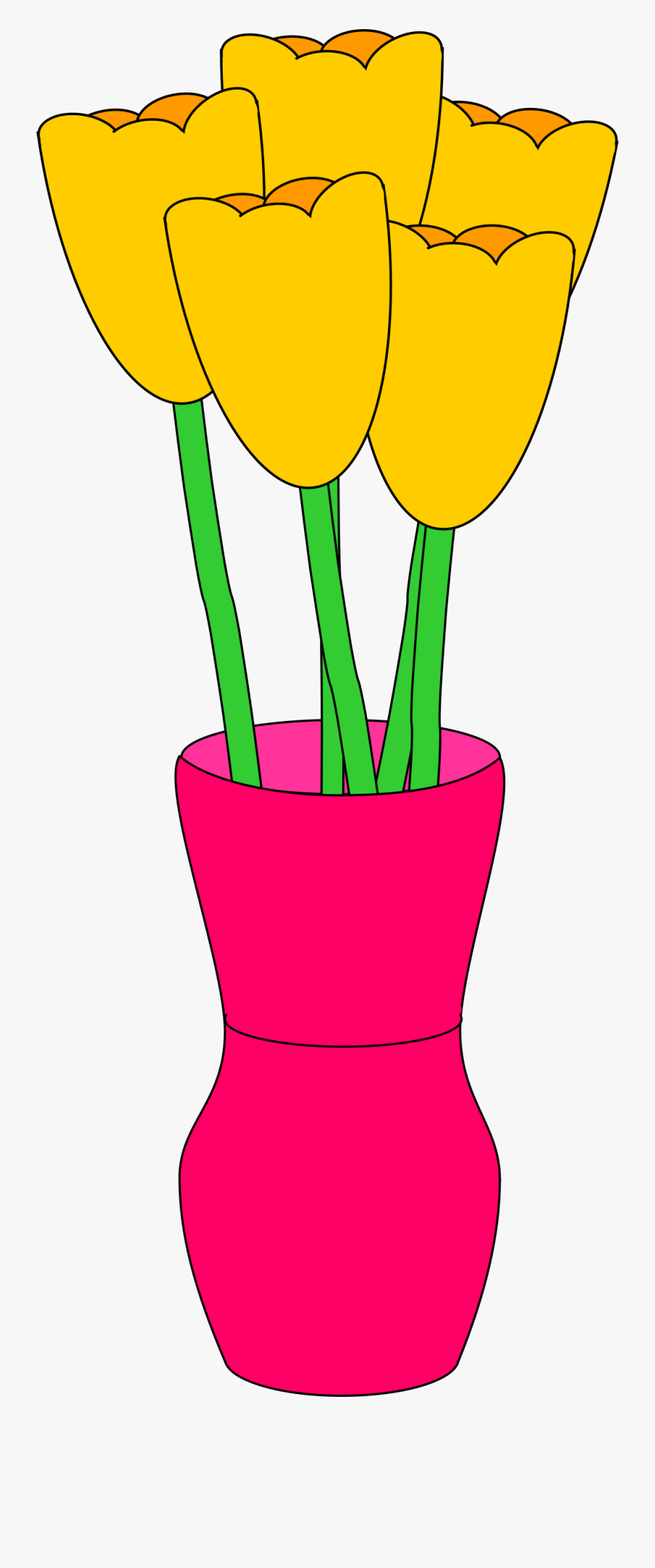 Pink Vase Of Tulips Clip Arts - Tulip In Vase Clipart, Transparent Clipart