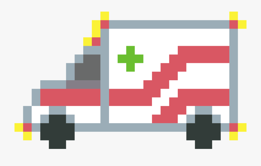 Pixel Art Ambulance Clip Arts - Minecraft Ambulance Pixel Art, Transparent Clipart