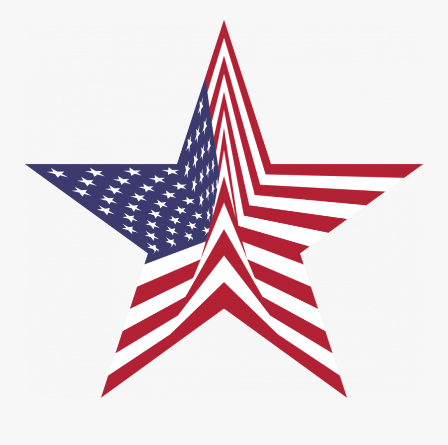 Abstract American Star And Flag Clip Art Library Collections - American Flag In A Star, Transparent Clipart