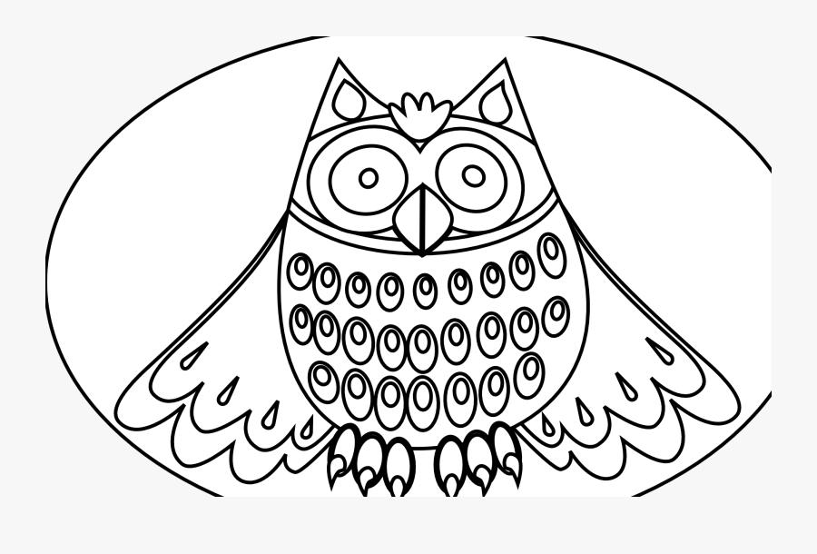 Cute Owl Black White Line Art Scalable Vector Graphics - Coloring Owl Svg, Transparent Clipart