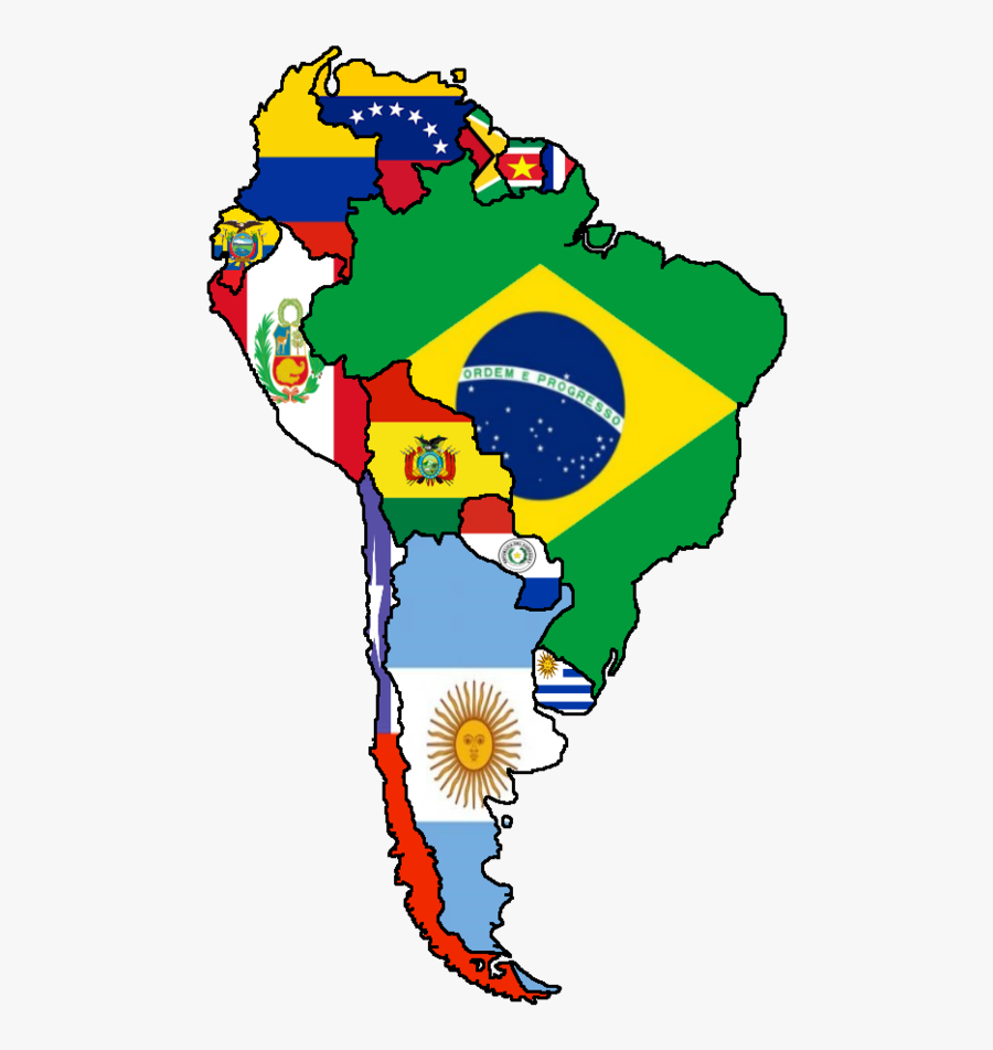 Clip Art Flags Of Latin America - Flag Map Of South America, Transparent Clipart