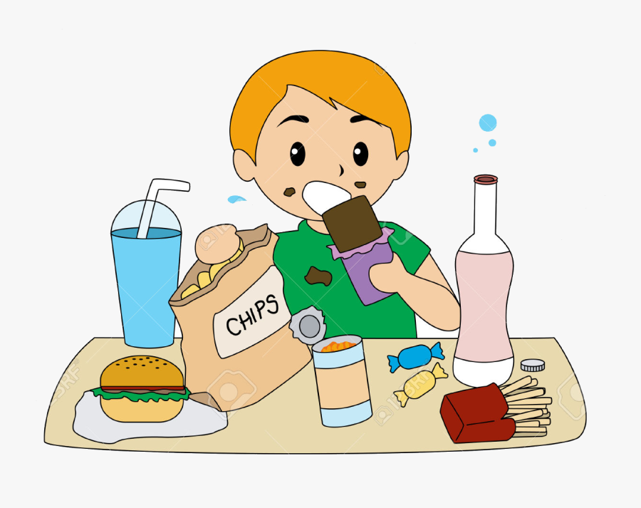 Healthy Food Clipart Eating Transparent Png - Kid Eating Healthy Food Clipart, Transparent Clipart