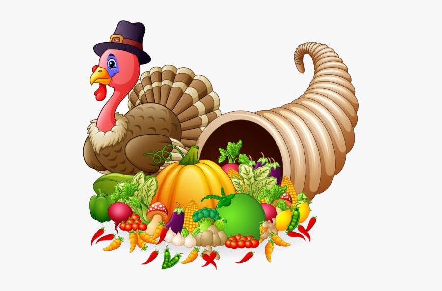 Cornucopia Thanksgiving Horn Of Plenty Full Vegetables - Thanksgiving Horn, Transparent Clipart