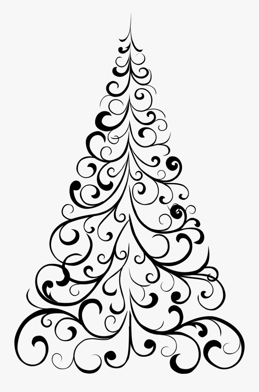 Jpg Free Library Black And White Christmas Tree Clipart - Christmas Tree Draw Png, Transparent Clipart