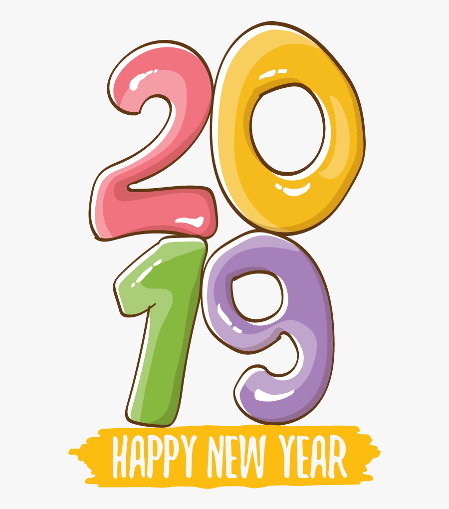 Happy New Year Colorful Poster, Transparent Clipart