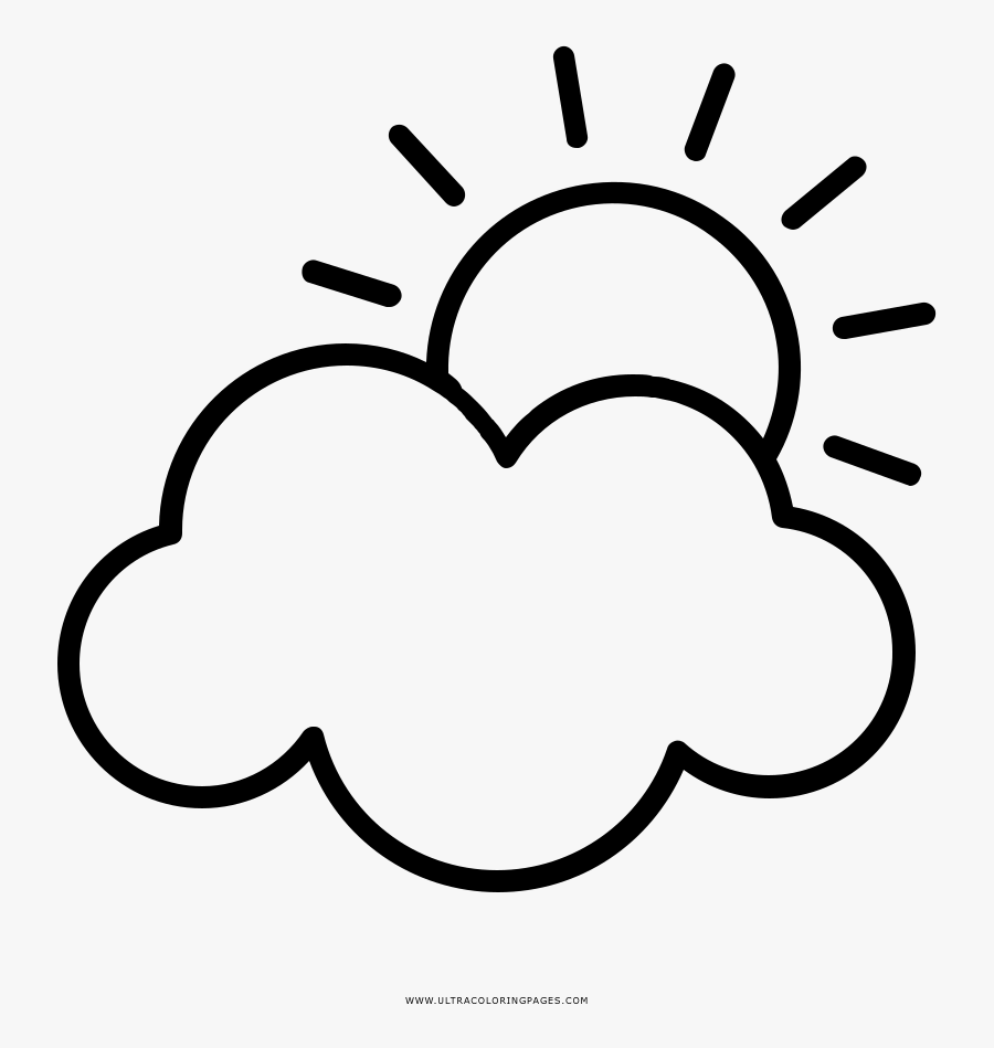 Partly Cloudy Coloring Page Clipart , Png Download - Partly Cloudy Clipart Black And White, Transparent Clipart