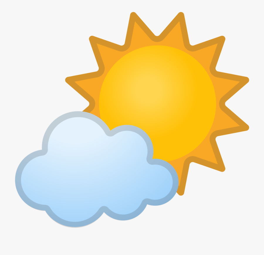Sun Behind Small Cloud Icon - Sun And Clouds Icon, Transparent Clipart