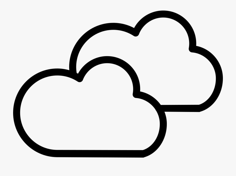 Cloudy Weather Symbol Outline Of Two Clouds - Cloudy Weather Symbol, Transparent Clipart